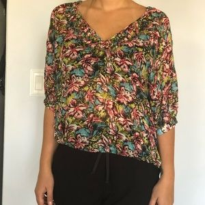 Joie 100% silk floral blouse loose style